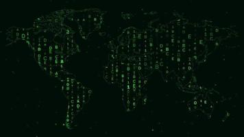 World Map with Random Green Numbers and Letters for Digital, Hacker, or Network Security Themes Around the World
