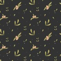 Vector seamless pattern of olives, leaves and small berries on a dark background. Digital paper, ornament for bed linen