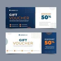 Vale de regalo de marketing naranja y azul. vector