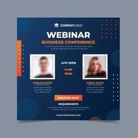 conferencia de negocios naranja y azul vector