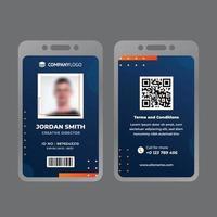 tarjeta de identificación comercial de marketing naranja y azul vector