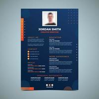 plantilla de diseño de currículum naranja y azul vector