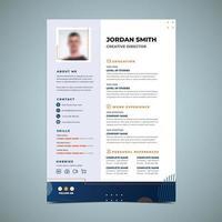 Orange And Blue Light Resume Design Template vector