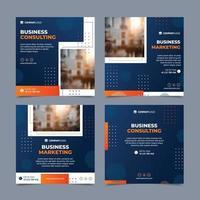 paquete de publicaciones sociales cuadradas naranja y azul de 4 vector