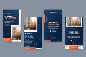 Orange And Blue Marketing Social Media Stories vector
