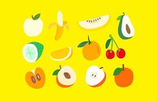 Creative doodle artistic elements vector set. Sketchy style illustration. Fruits