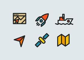 Color thin line icons vector collection. GPS navigation