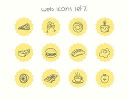 Doodle conjunto de iconos de comida de vector