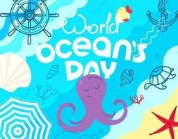 día mundial de los océanos. ilustración de estilo incompleto vector