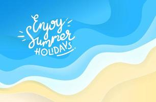 Enjoy summer holidays. Abstract background of blue waves vector