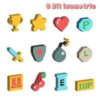 8 bit isometric icons vector