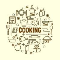 cooking minimal thin line icons set vector
