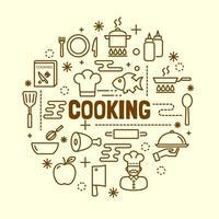 cocina, mínimo, línea fina, iconos, conjunto vector