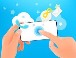 utilizando el concepto moderno de vector de teléfono inteligente. manos sosteniendo un teléfono inteligente moderno y tocando la pantalla