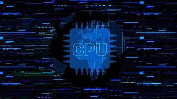 CPU Technology with Hi-Tech Line Background