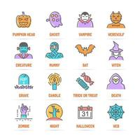halloween vector line icons with flat colors