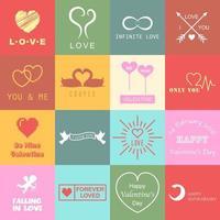 set of valentines day logo vector