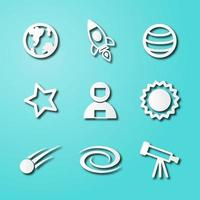 space paper art icons vector