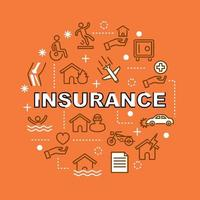insurance minimal outline icons vector