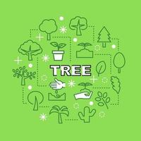 iconos de contorno mínimo de árbol vector