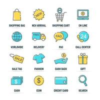 shopping vector line icons with flat colors