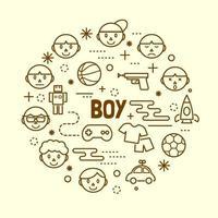 boy minimal thin line icons set vector