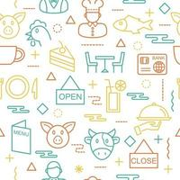 restaurant seamless pattern vector
