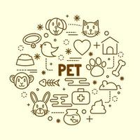 pet minimal thin line icons set vector