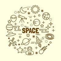 space minimal thin line icons set
