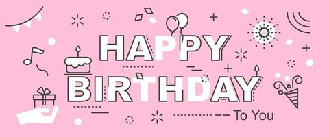 happy birthday outline banner vector