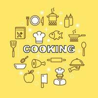 cocinar iconos de contorno mínimo vector
