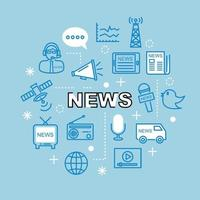 news minimal outline icons vector