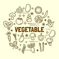 vegetable minimal thin line icons set vector