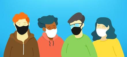 People wearing face masks vector