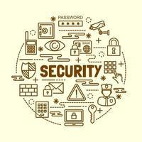 conjunto de iconos de línea fina mínima de seguridad vector