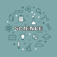 science minimal outline icons vector