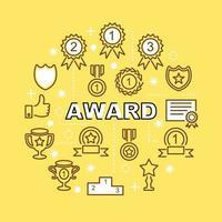 award minimal outline icons vector