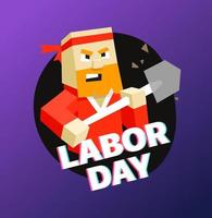 Happy Labor day greeting card with cute worker vector
