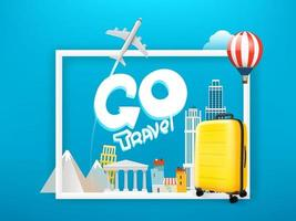 Go Travel. Vector concept with lettering inscription