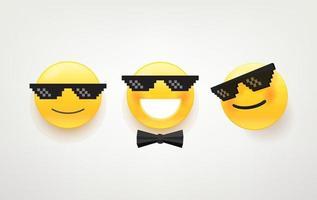 como un paquete de vectores de iconos de jefe. lindo personaje de vector con gafas de sol