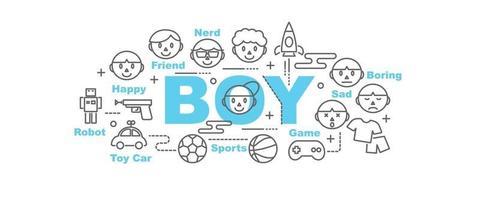 boy vector banner