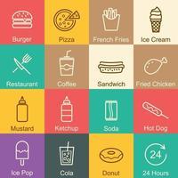 fast food outline design vector