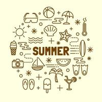 summer minimal thin line icons set vector