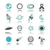iconos espaciales con reflejo vector