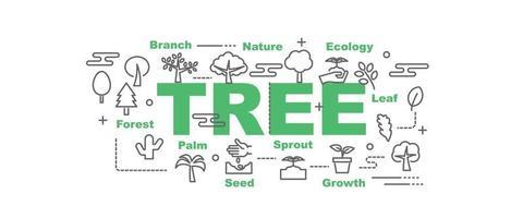 banner de vector de árbol