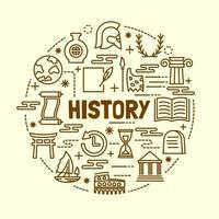 history minimal thin line icons set vector