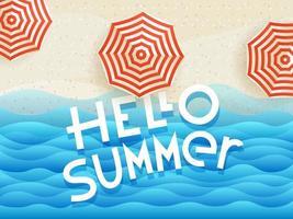 hola verano vector banner con paraguas y logotipo de letras