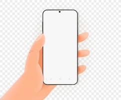 mano que sostiene el teléfono inteligente moderno con pantalla en blanco. maqueta de vector