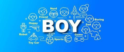 boy vector trendy banner