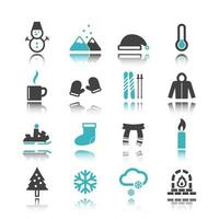 winter icons with reflection vector